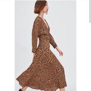 NWT Zara Leopard Print Wrap Dress